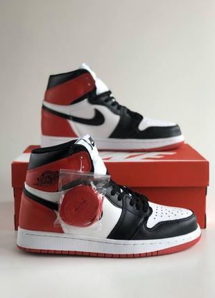 Кроссовки высокие nike air jordan 1 retro red&white