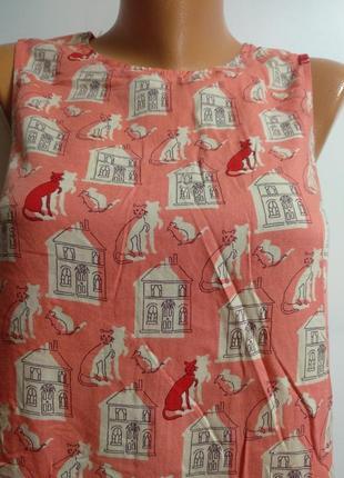 Блуза штапель принт котики мышки домики спинка на пуговицах размера l