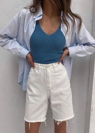 Белые удлиннённые шорты бриджи капри бермуды