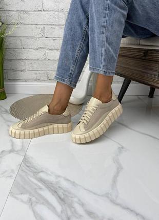 Стильные женские кожаные замшевые кроссовки кеды, бежевые