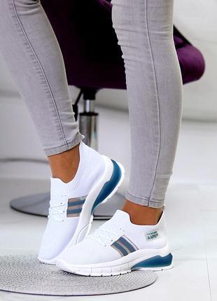 Женские кроссовки белые текстиль вязка