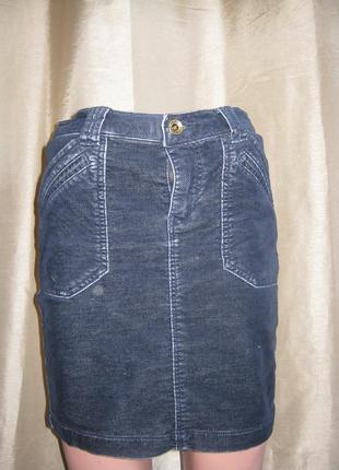 Tom tailor  юбка синяя до колена стрейч микровельвет германия.