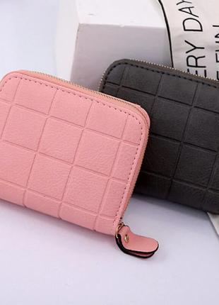 Женский маленький кошелек, квадрат, черный, вместительный