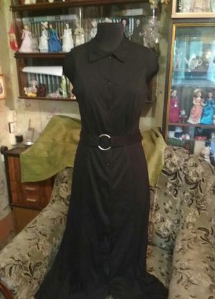 Длинное чёрное летнее платье-халат из трикотажа bonprix