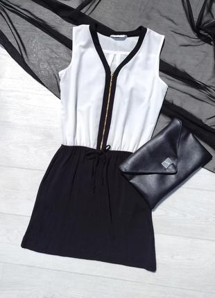 Чёрно белое комбинированное платье с карманами promod
