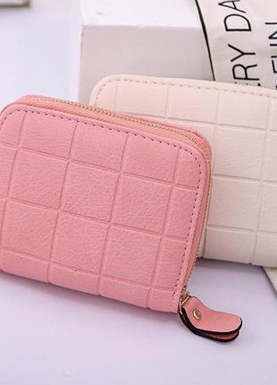 Женский маленький кошелек, квадрат, розовый, вместительный