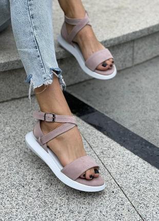 Стильные удобные женские кожаные замшевые босоножки сандалии, пудра