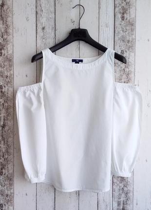 Рубашка белая блуза с открытыми плечами gap