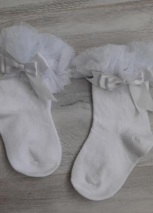 Носки білі святкові ) бантик, фатин