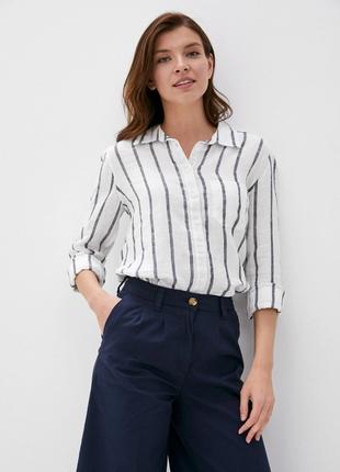 Льняная натуральная белая рубашка  в чёрную полоску длинный рукав 100% лён р 14 marks&spencer