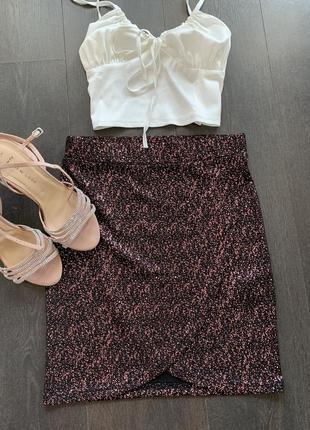 Юбка высокая посадка стразы блестки юбка мини с нахлестом