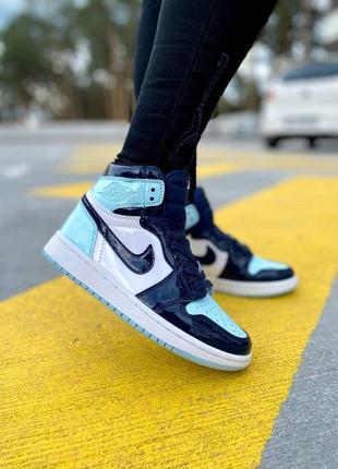 💙 женские кроссовки nike air jordan retro 1 patent