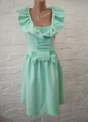 Красивое нарядное платье бледно-мятного цвета montella, р. 36. замеры на фото