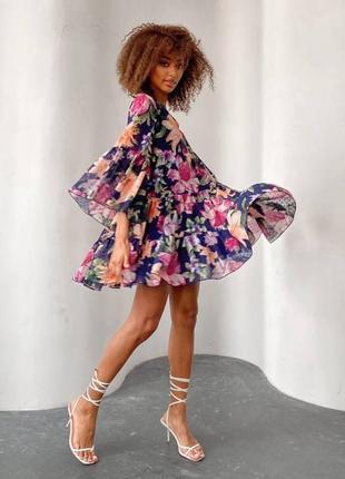 Оверсайз платье мини цветочный принт
