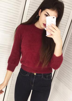 Мягусенький тёплый свитерок пушистик - травка цвета марсала / бордо