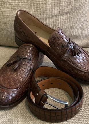 Италия !  мужские туфли miguel miratez с ремнём в комплекте