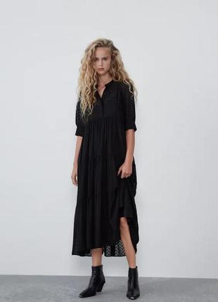 Платье zara ярусное s черное (0881/307/800)