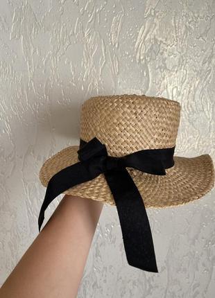 Летняя пляжна шляпа соломенная с ленточкой черного цвета, капелюх, канотьє