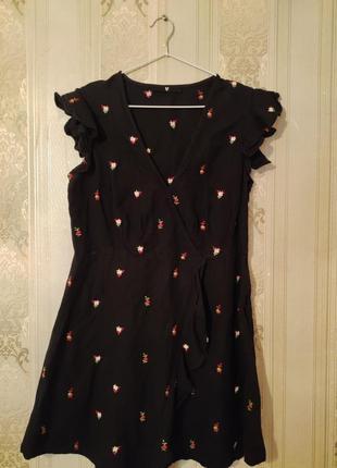 Платье лён в цветочный принт