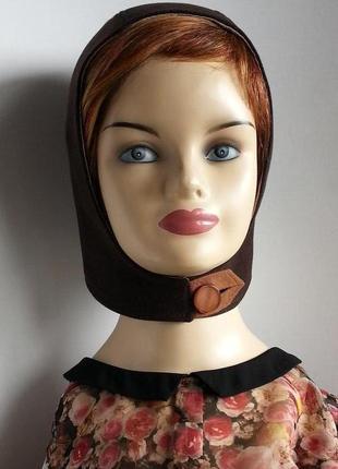 Шапка - шлем. женская. кашемир. темно - коричневый.