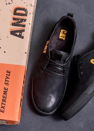 Мужские кроссовки из натуральной кожи cat,скидка