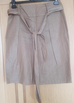 Шикарная юбка миди с золотистым напылением