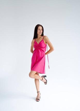 Льняное платье мини с кулиской на бретелях платье комбинация