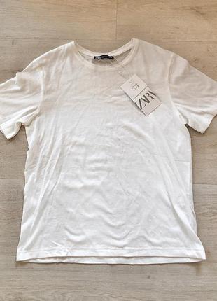 Новая молочная белая базовая хлопковая футболка зара zara