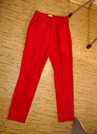 Красные джинсы/стрейч мом pringle высокая посадка