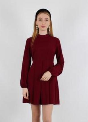 Красивое платье бордовое ,рукава фонарики ,s, xs