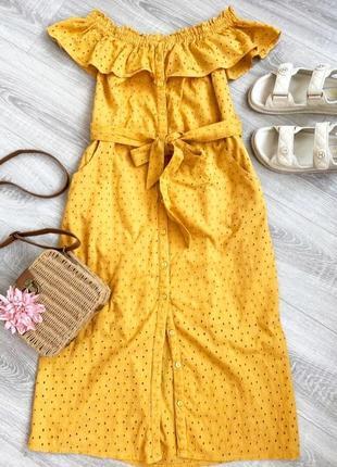 Натуральное платье с  прошвы миди