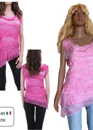 Италия шикарная шелковая блуза шелк натуральный