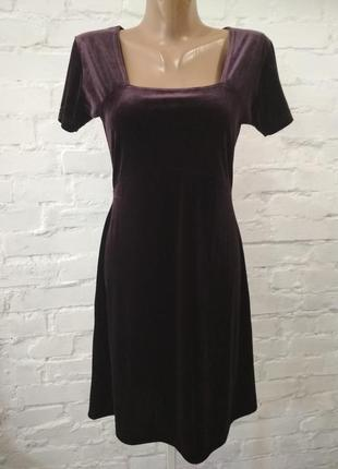 Бархатное платье сливового цвета hennes, р. 36, в идеальном состоянии! замеры на фото!