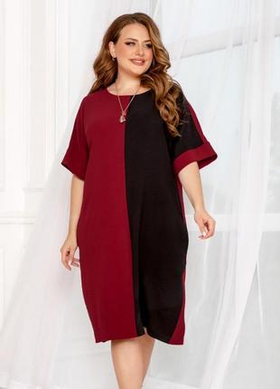 Стильное классическое платье миди 2 цветов батал из американского крепа + бесплатная доставка💫