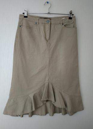 Vero moda актуальная  котоновая бежевая юбка , миди (40)