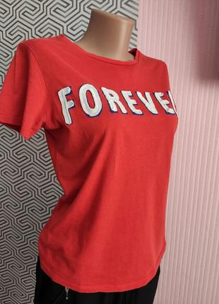 Футболка женская яркая красная forever kiabi размер s коттоновая