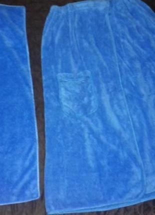 Набор полотенец для бани сауны юбка-сарафан и для головы(лицевое)
