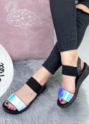 Босоножки сандалии голограмма на резинке