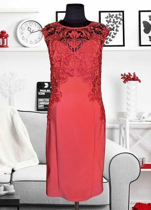 Платье трикотажное с кружевом коралловое lipsy
