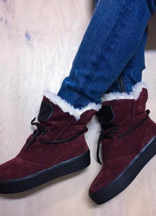 Зимние валенки угги ботинки замшевые
