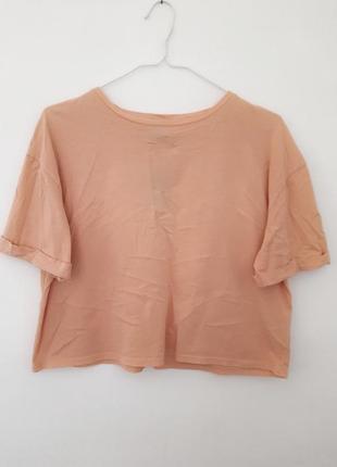 Укороченная хлопковая футболка персикового цвета