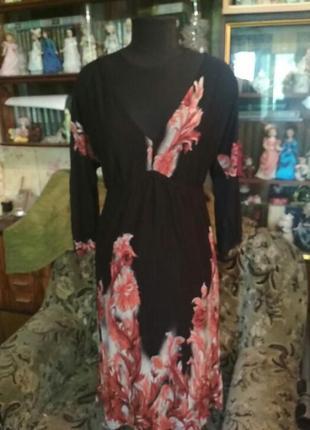 Трикотажное летнее платье с длинными рукавами bonprix