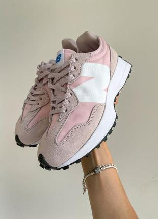 New balance 327 розовые женские спортивные кроссовки