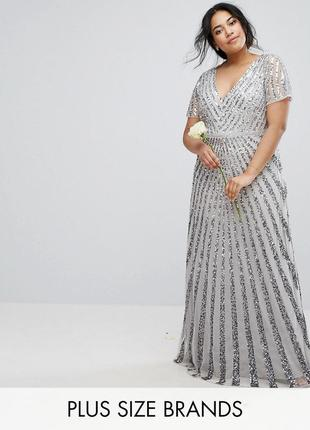 Asos plus size lovedrobe luxe роскошное блестящее макси-платье 6xl2