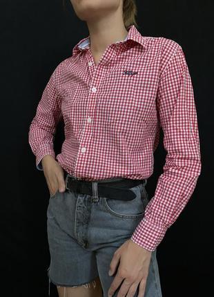 Рубашка в клетку tommy hilfiger, хлопковая рубашка