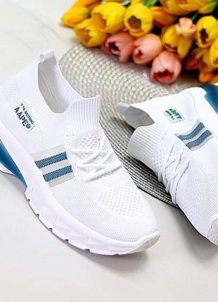 Модные белые текстильные эластичные дышащие женские кроссовки   к 11084