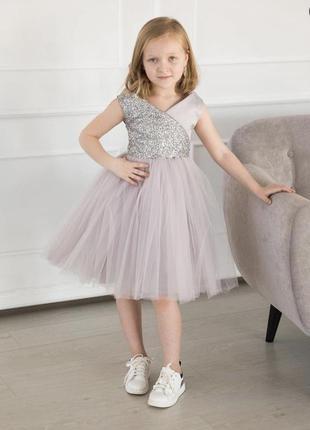 Детское короткое пишное платье с бантом