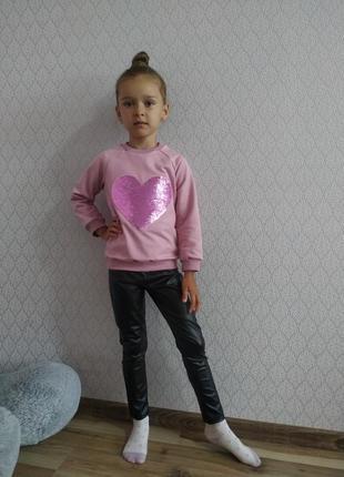 Детский костюм для девочки нарядный лосины эко кожа свитшот пайетки
