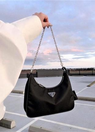 Женская сумка prada nylon shoulder bag black