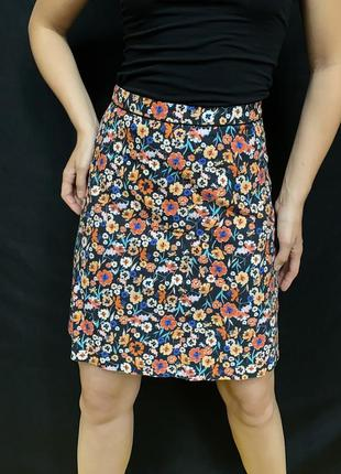 Мини юбка в цветочный принт, на молнии котоновая юбка